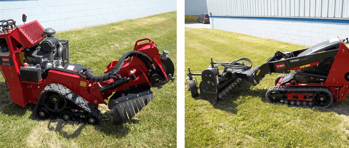 Red Toro lawn aerator shown from both sides