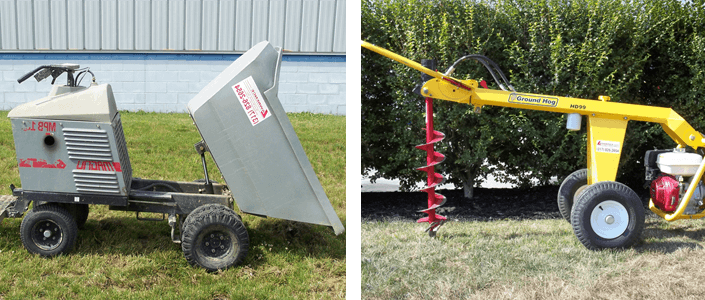 Gray seed or mulch dumper, yellow ground hog with drill attachment